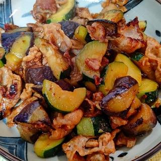 茄子とズッキーニの豚肉味噌炒め