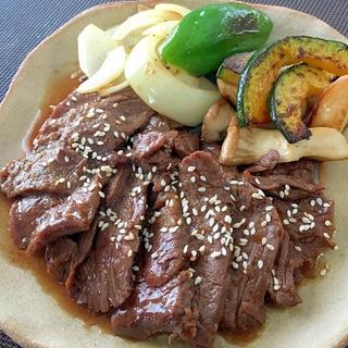 焼き肉と焼き野菜のワンプレート☆タレ漬け牛肉で簡単
