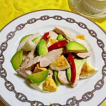 鶏肉・アボカド・玉子のおかずサラダ