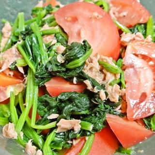 トマトとほうれん草のツナサラダ