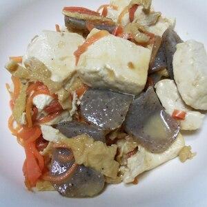 ゴマ香る、お豆腐とこんにゃくの炒り煮♪
