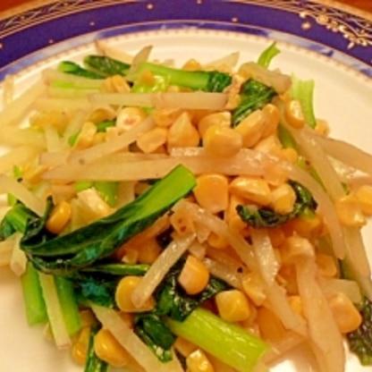 小松菜とじゃがいもとコーンの中華風炒め