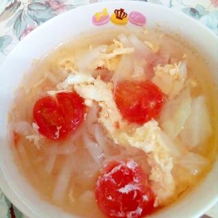 キャベツとミニトマトの卵スープ