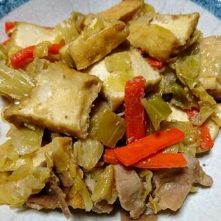 ご飯が進む!厚揚げ キャベツ 豚肉の味噌炒め