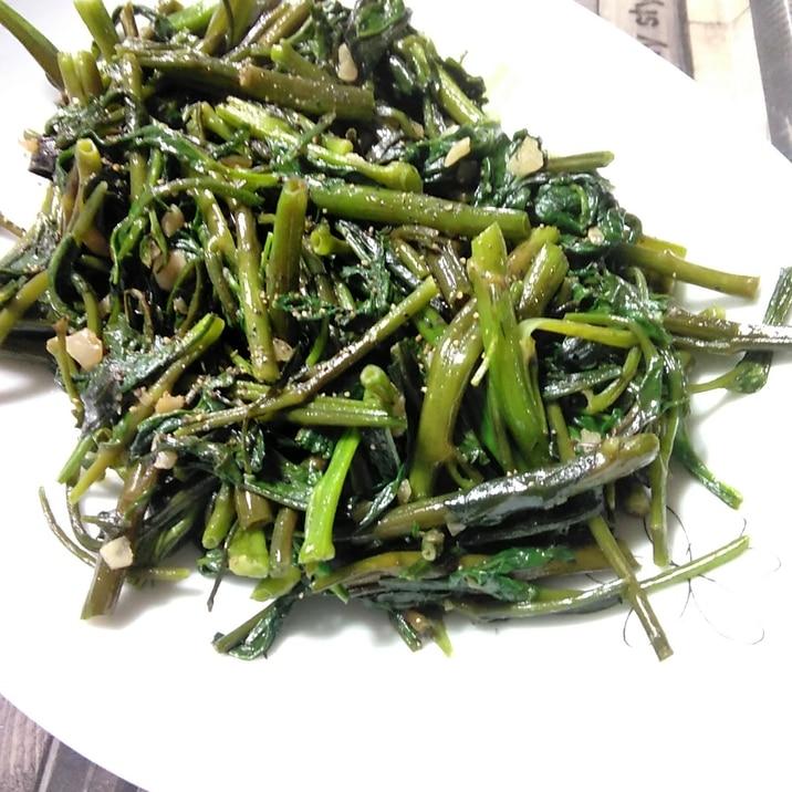 空芯菜とにんにくの中華炒め