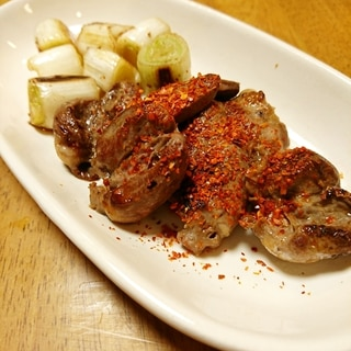鶏ハツとねぎのシンプル炒め