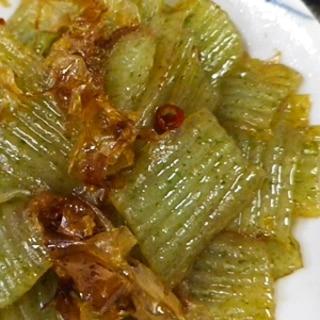 スピード料理、刺身蒟蒻のピリ辛おかか炒め