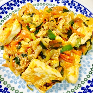 豆腐と豚肉のオイスター炒め