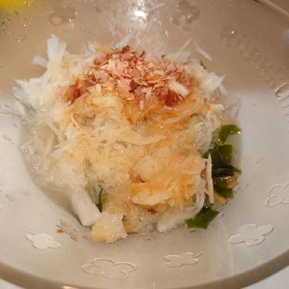 水菜の代わりにわかめで。 梅ドレッシングが美味しく、とても簡単にできました!また作りたいと思います