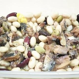 いわしの蒲焼缶と大豆の和え物♪