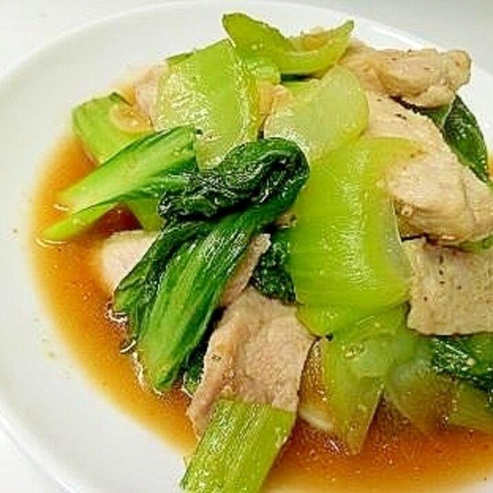 豚ロースと青梗菜のピリ辛にんにく炒め