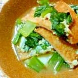 サッと煮るだけ「さつま揚げと小松菜の卵とじ」