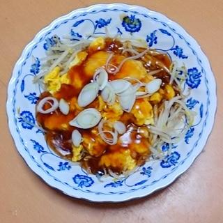 もやしの中華風卵&甘酢あんかけ★ポン酢で簡単