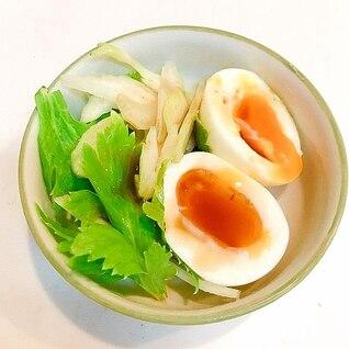 シャキシャキ全開♪セロリと半熟卵のサラダ