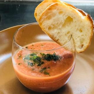 トマト缶で!ガスパチョ!(スペインの冷製スープ)
