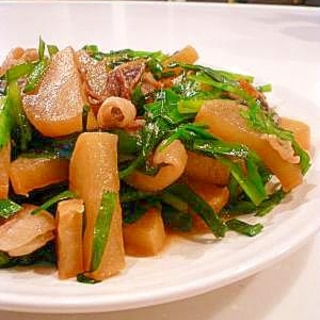 大根消費に♪豚ニラ大根のピリ辛炒め煮。