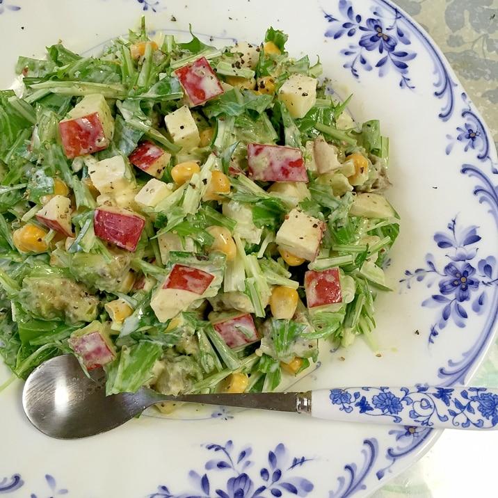 アボカド、水菜、りんご、コーンの★チョップドサラダ