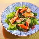 わさび菜と海藻とかにかまのサラダ