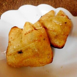 漬物オクラ納豆の巾着焼き