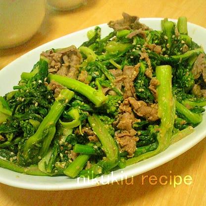 簡単おいしい!菜の花と牛肉の味噌炒め風煮物