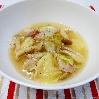 豚肉とキャベツのすいとんスープ