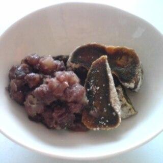 干し柿と小豆のラム酒かけ