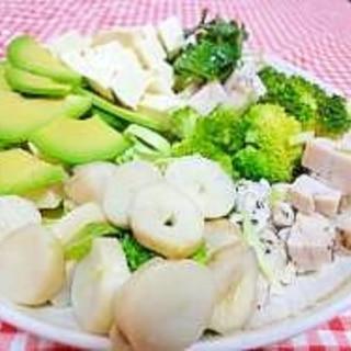 鶏ハムで♪豆腐とたっぷり野菜のコブサラダ風