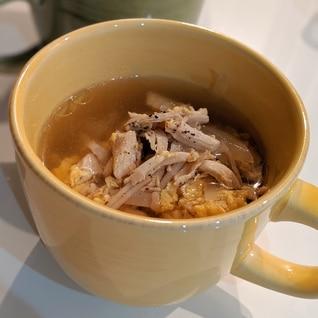 ササミと卵の中華風スープ