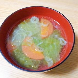 キャベツと人参とねぎの中華スープ