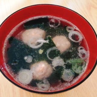 餃子のたねの残りで☆肉団子とわかめの中華スープ