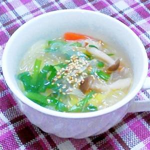 ニラ・白菜・春雨などの具だくさん中華スープ