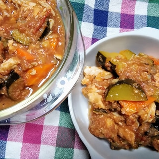 ズッキーニと鶏肉のラタトゥイユ風☆炊飯器使用