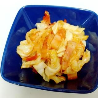 キャベツとベーコンのピリ辛炒め++