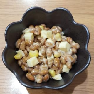 チーズとコーンのマヨ納豆
