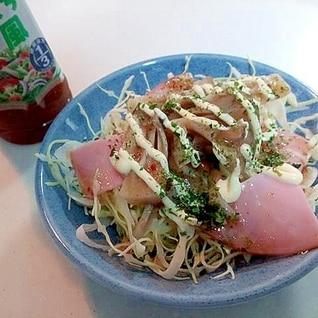 千切りキャベツとハムと舞茸の和風サラダ