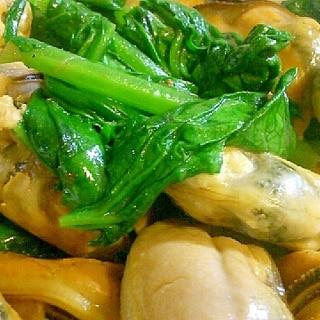 ムール貝と青菜のアンチョビ炒め