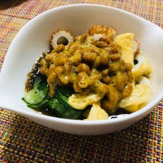 5つの食材で♪  健康もずく酢納豆
