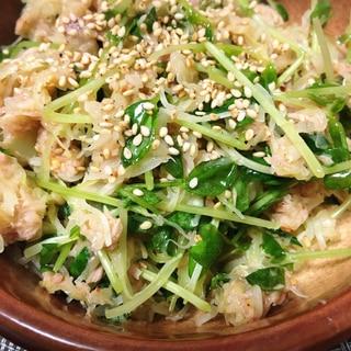 カット野菜と豆苗で無限サラダ
