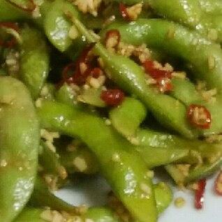 ピリ辛枝豆炒める