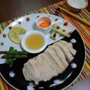 鶏胸肉 with 白だし黄身だれ