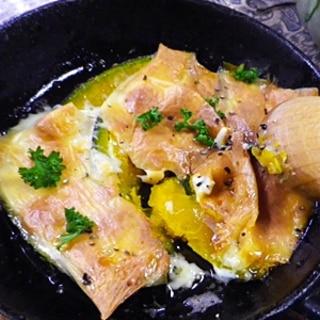 グリルパンで、バターカボチャのチーズ焼き