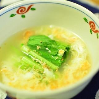妊婦さんにもおすすめ◎小松菜と玉子のあっさりスープ