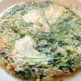 たっぷり豆苗の卵とじ