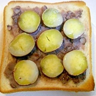 さつま芋と粒あんをのせたトースト♪