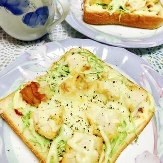 唐揚げリメイク♬ キャベツでさっぱり!トースト