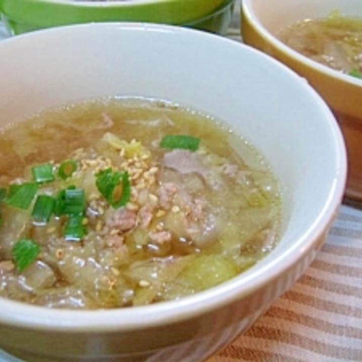 白菜と春雨の豚肉スープ