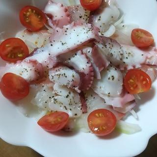 イタリアンドレッシングでタコと鯛のカルパッチョ