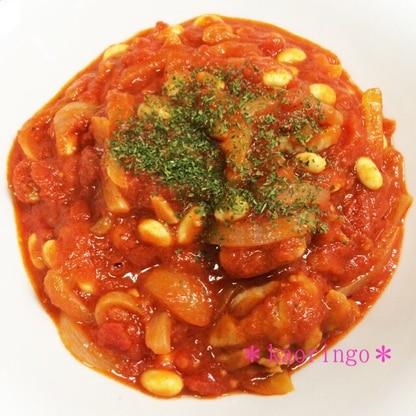 簡単!節約!鶏肉と大豆のトマト煮込み