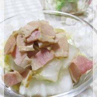 ルクエで、洋風白菜ベーコン煮