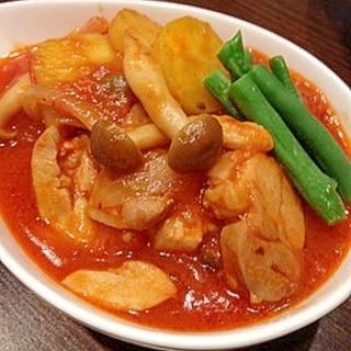 一人分でも美味しい♡鶏肉のトマト煮